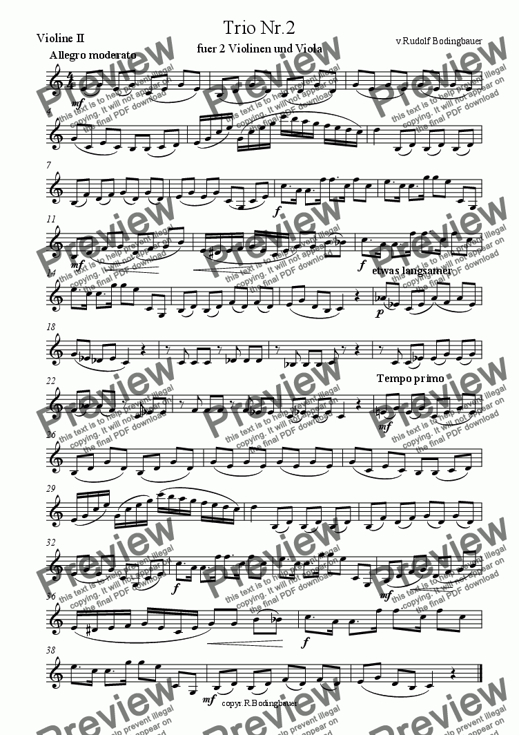 page one of the Violine II part from Trio Nr.2 fuer Streicher