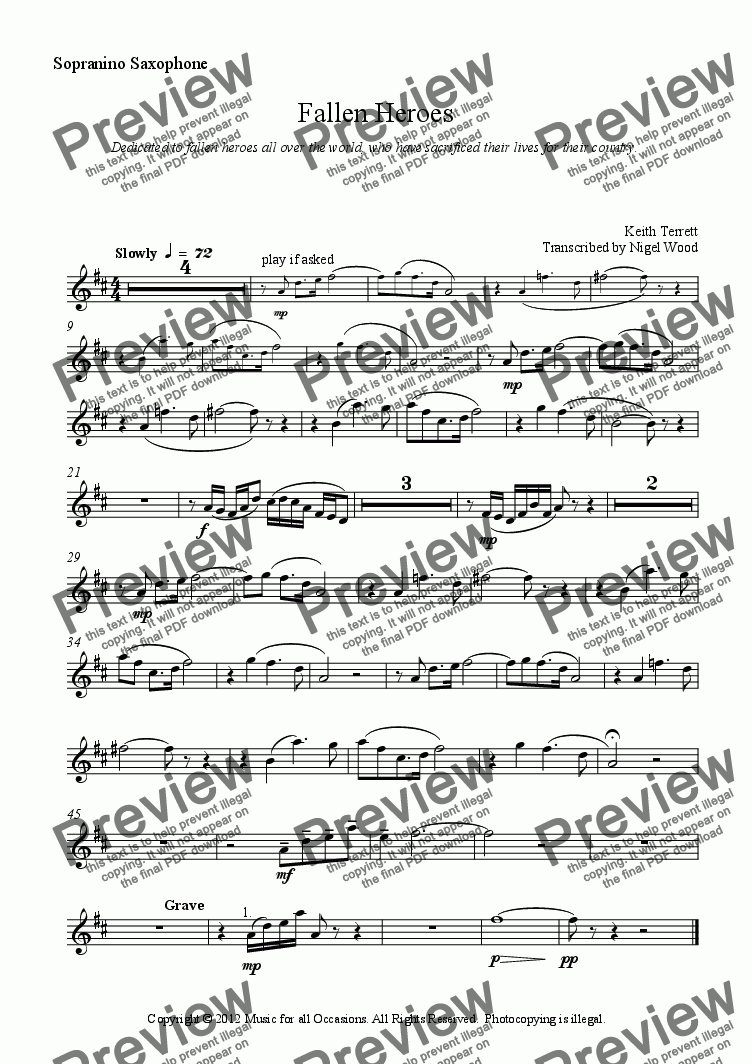 page one of the Sopranino Saxophone part from Fallen Heroes for Saxophone Choir