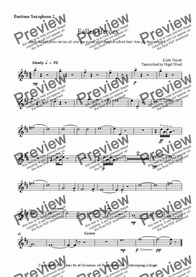 page one of the Baritone Saxophone 2 part from Fallen Heroes for Saxophone Choir