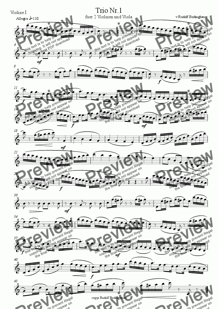 page one of the Violine I part from Trio Nr.1 fuer Streicher