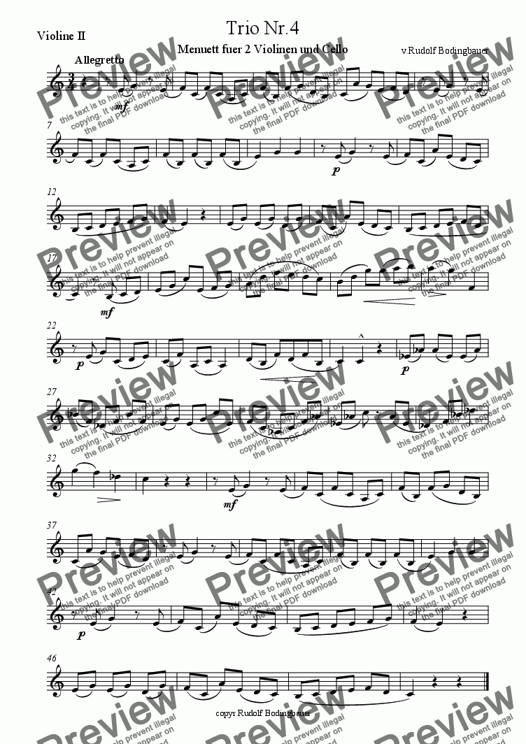 page one of the Violine II part from Trio Nr.4 fuer Streicher