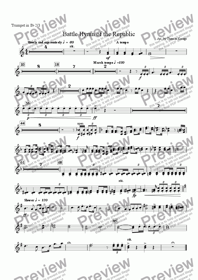 page one of the Trumpet in B^b 2/3 part from Battle Hymn of the Republic [full]