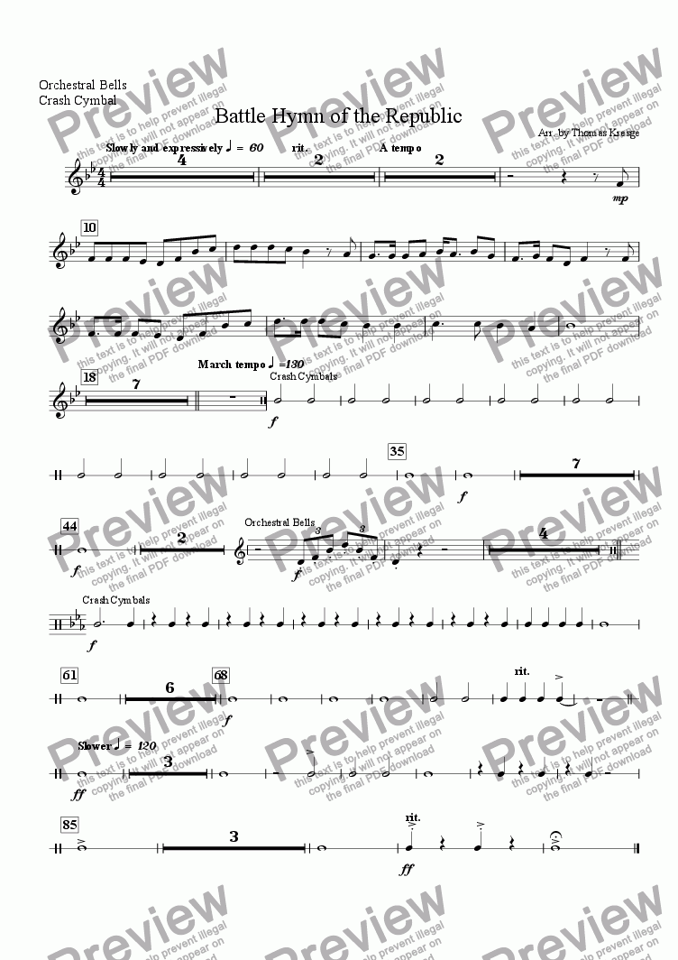 page one of the Orchestral Bells, Crash Cymbal part from Battle Hymn of the Republic [full]
