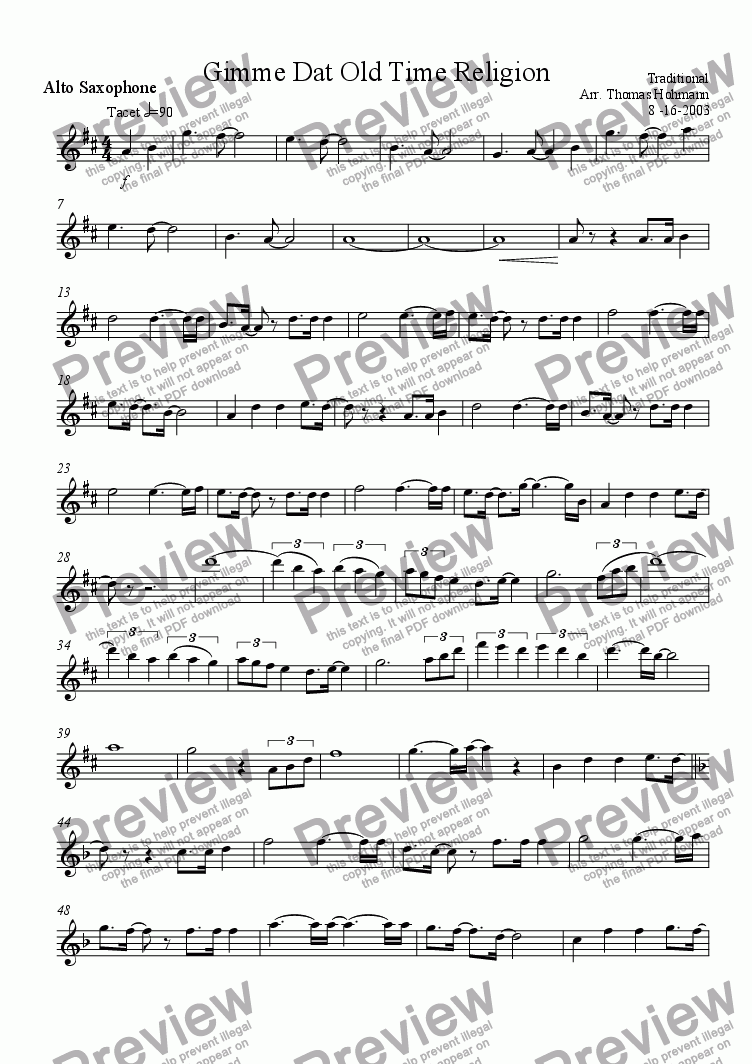 page one of the Alto Saxophone part from Gimme Dat Old Time Religion