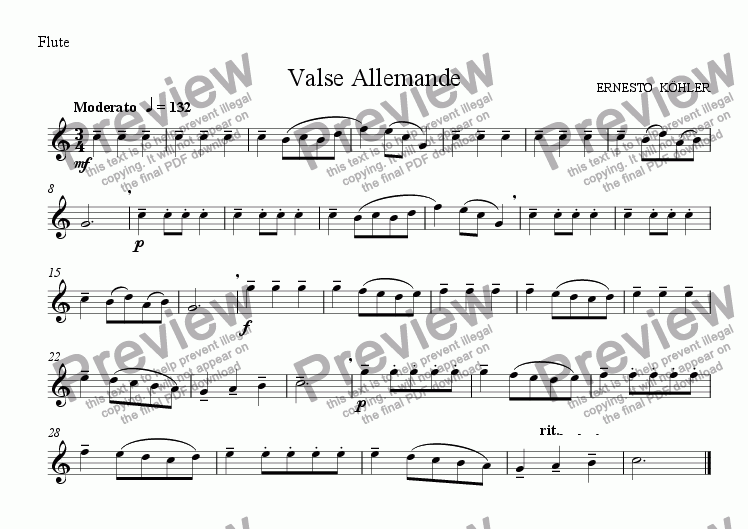 page one of the flute part from Valse Allemande (for flute&guitar)