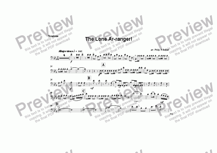 page one of the Trombone (7x5) part from The Lone Ar-ranger! (Oom-Pah Band)