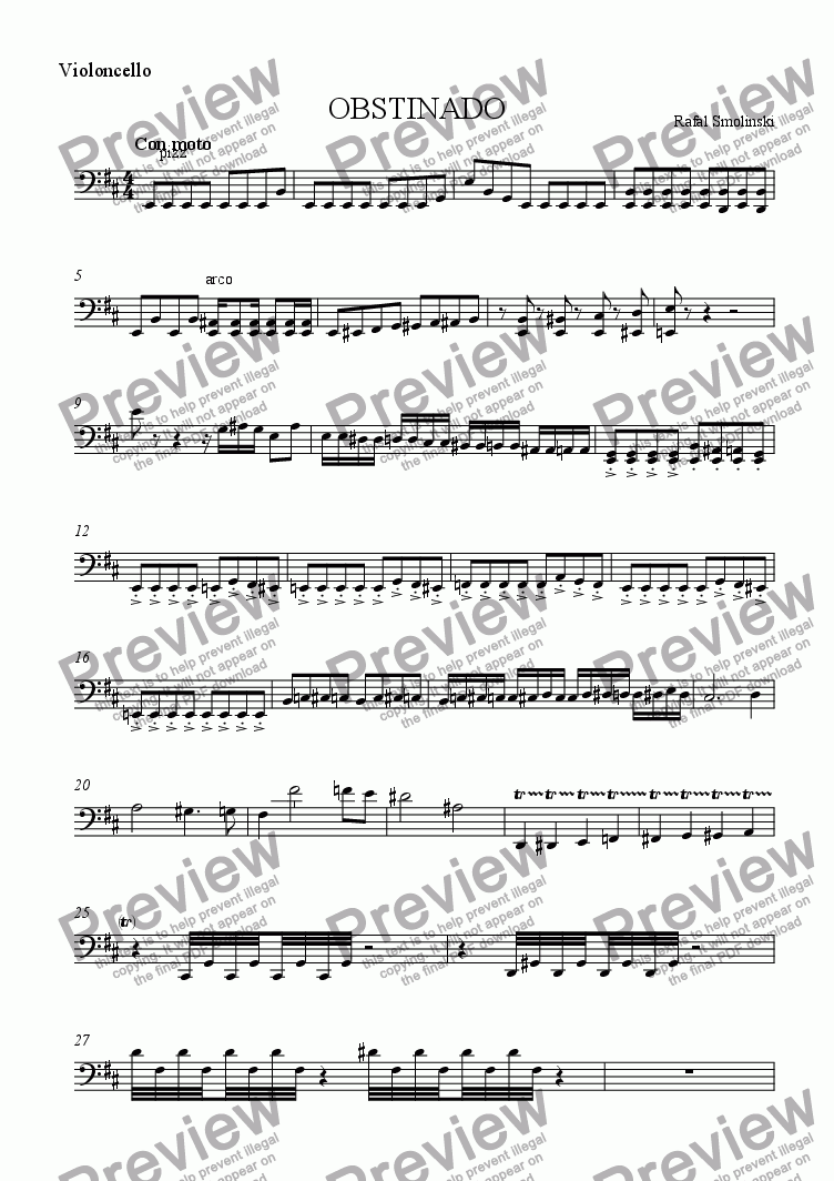 page one of the Violoncello part from OBSTINADO