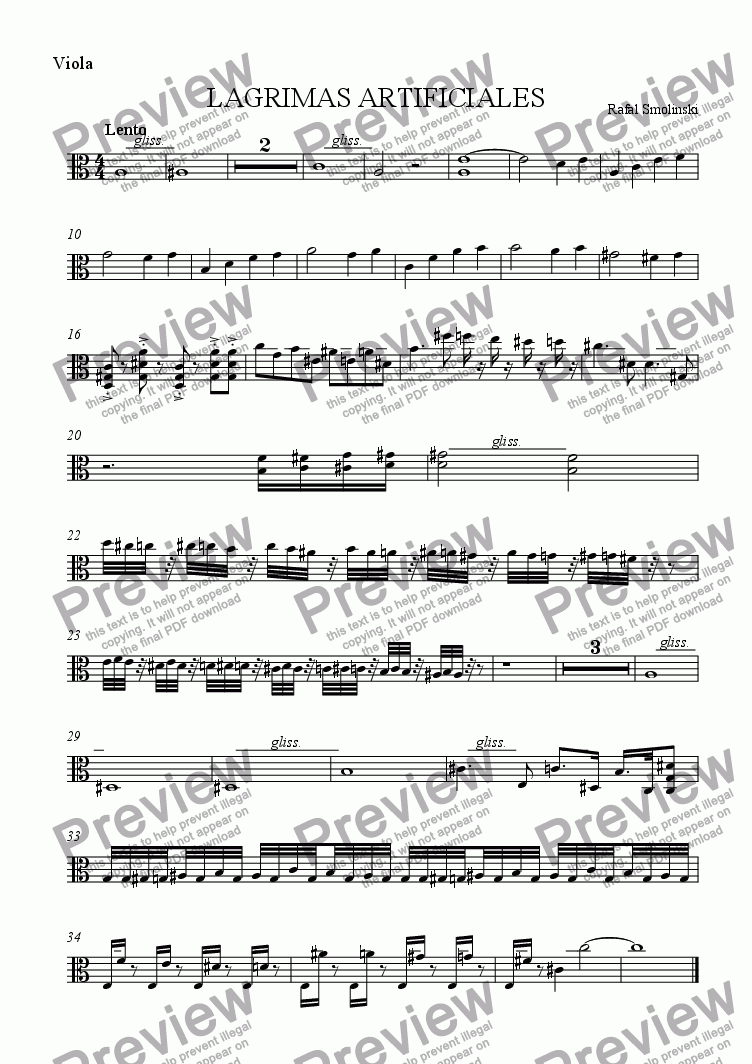 page one of the Viola part from LAGRIMAS ARTIFICIALES