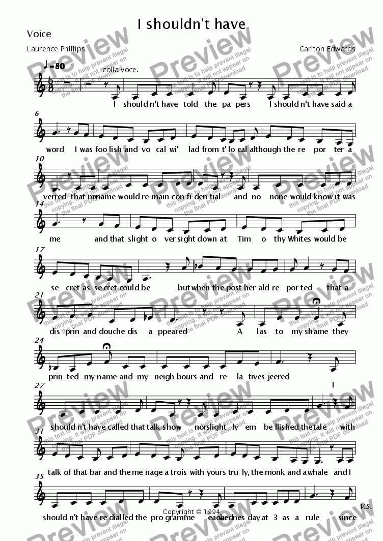 page one of the Voice part from I shouldn't have