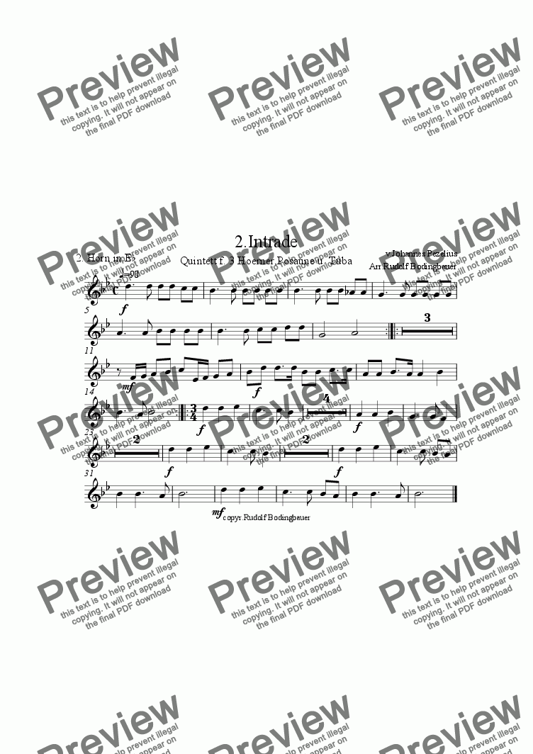 page one of the 2. Horn in Es part from 2. Intrade f. 3 H�rner,Pos.,Tuba