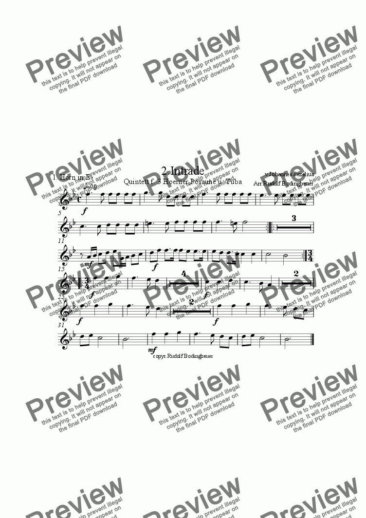 page one of the 1. Horn in Es part from 2. Intrade f. 3 H�rner,Pos.,Tuba
