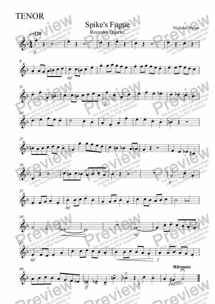 page one of the Tenor part from Spike's Fugue for Recorder Quartet