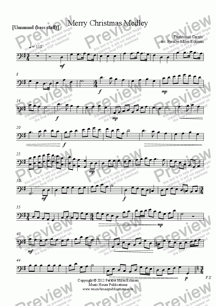 page one of the [Unnamed (bass staff)] part from Merry Christmas Medley (solo instrument & piano)