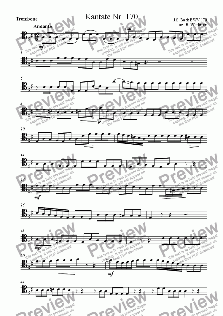 page one of the Trombone part from Kantate Nr. 170