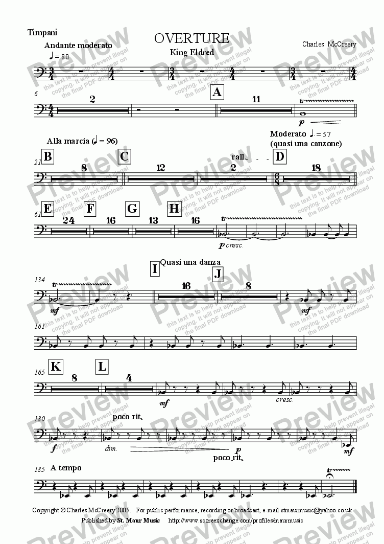 page one of the Timpani part from Overture to 'King Eldred'