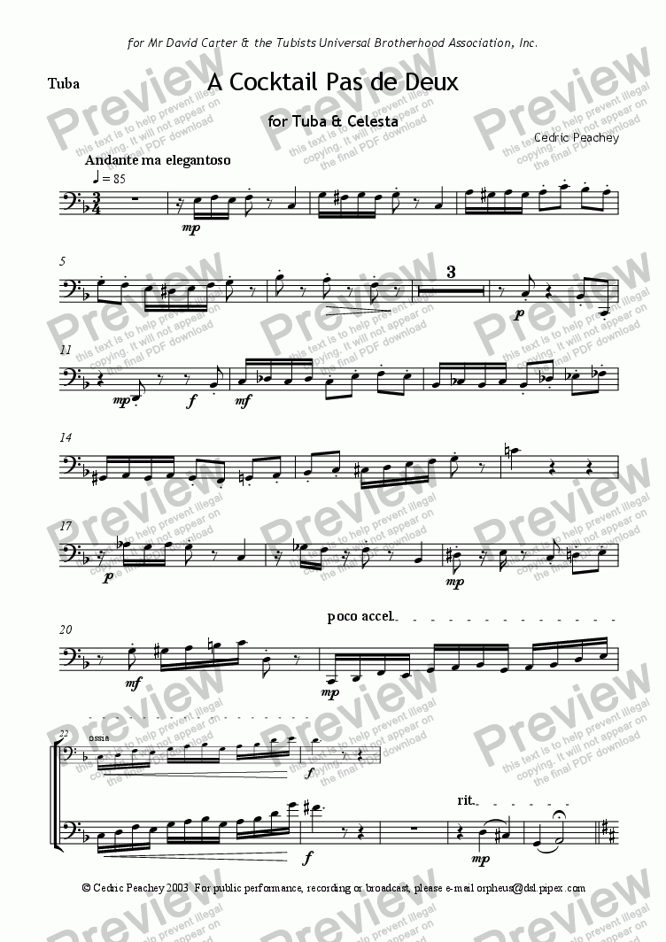 page one of the Tuba part from A Cocktail Pas de Deux
