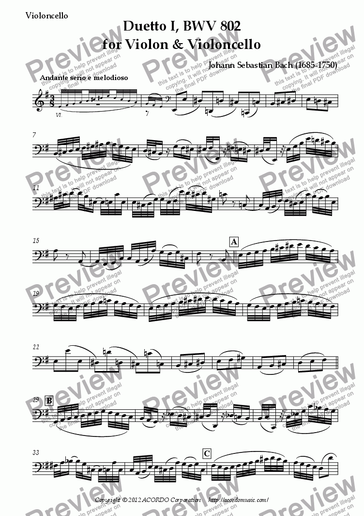 page one of the Violoncello part from Duetto I, BWV 802 for Violon & Violoncello