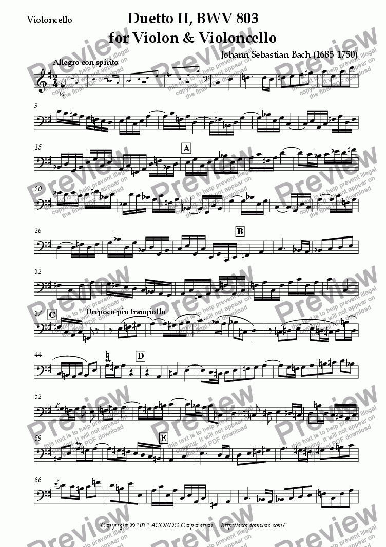 page one of the Violoncello part from Duetto II, BWV 803 for Violin & Violoncello