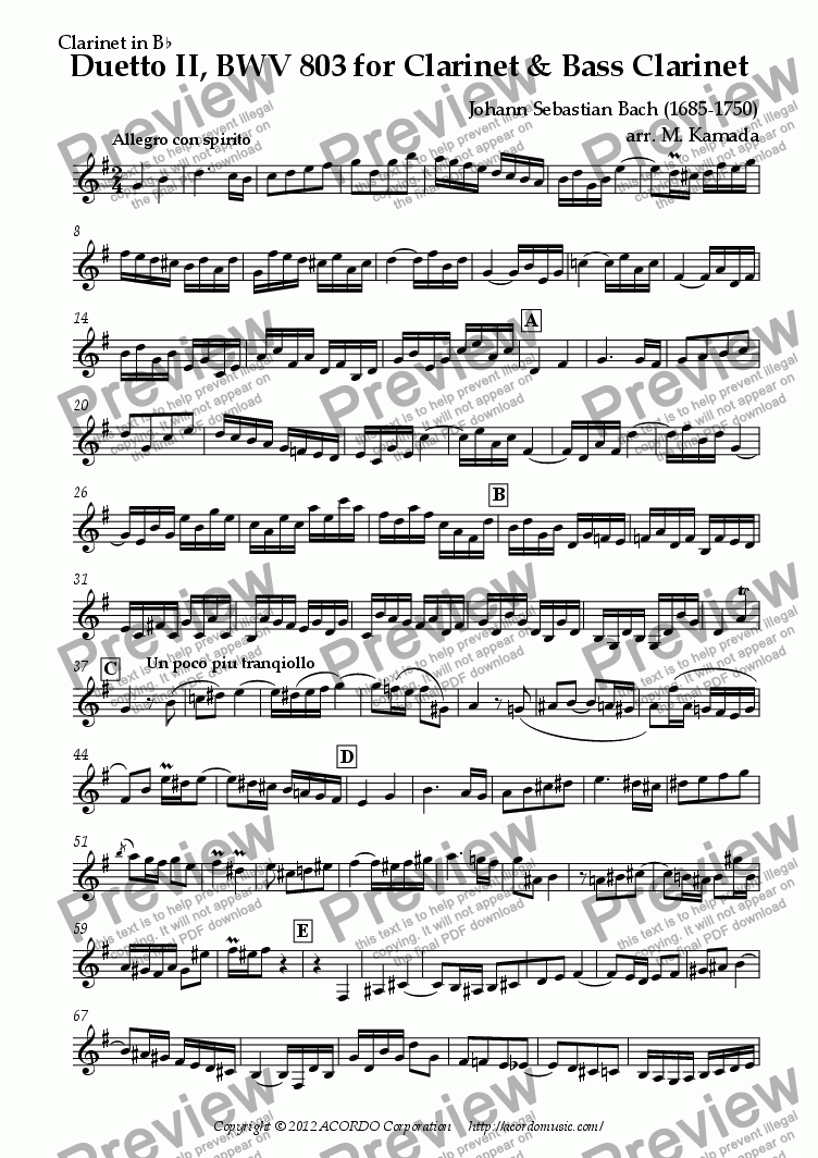 page one of the Clarinet in Bb part from Duetto II, BWV 803 for Clarinet & Bass Clarinet