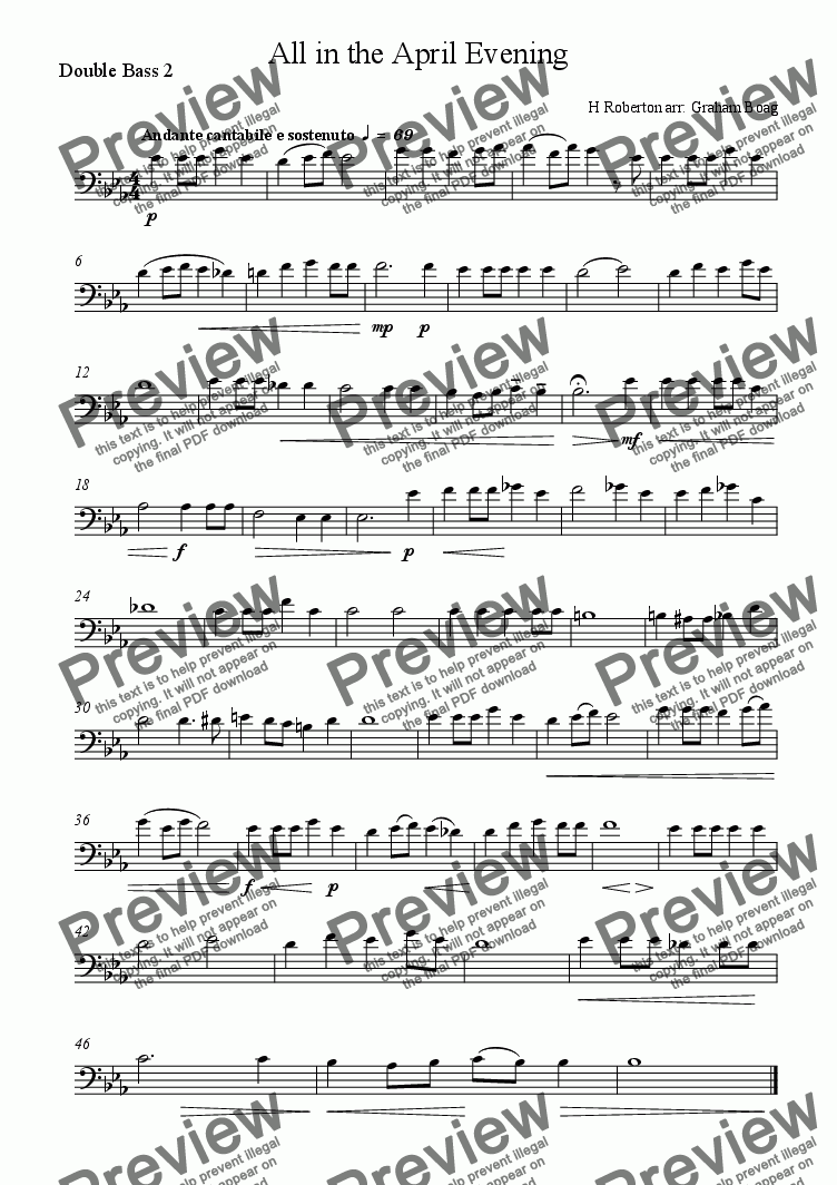 page one of the Double Bass 2 part from All in the April Evening (for four Double Basses)