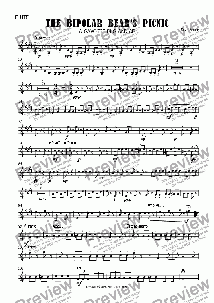 page one of the Bass in E^b part from The Bipolar Bear's Picnic
