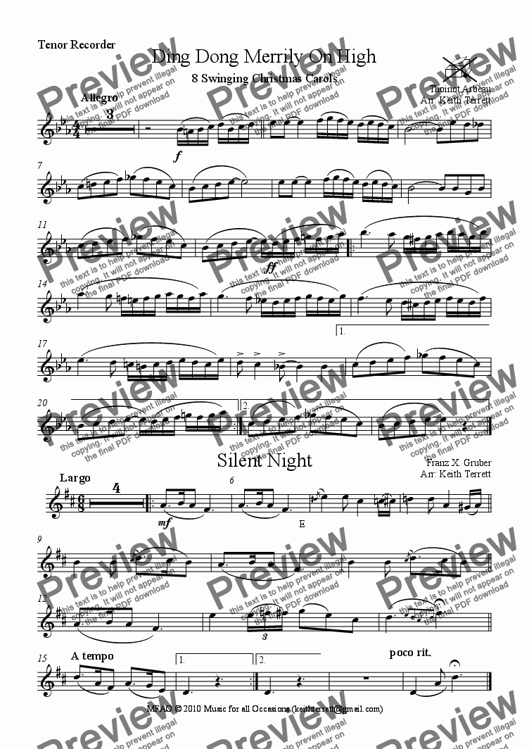 page one of the Tenor Recorder part from Eight Carols for Tenor Recorder & Piano