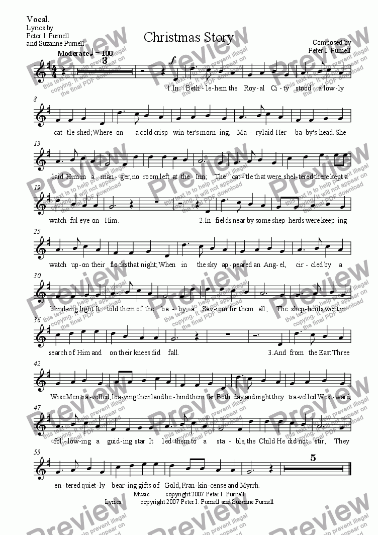 page one of the Vocal. part from Christmas Story