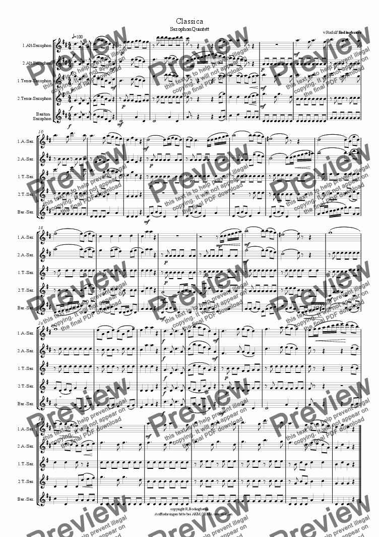 page one of the Direktion 2.Vers. part from Classica  Saxophonquintett