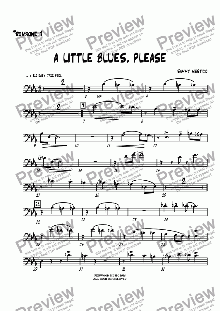 page one of the Trombone 1 part from A Little Blues Please