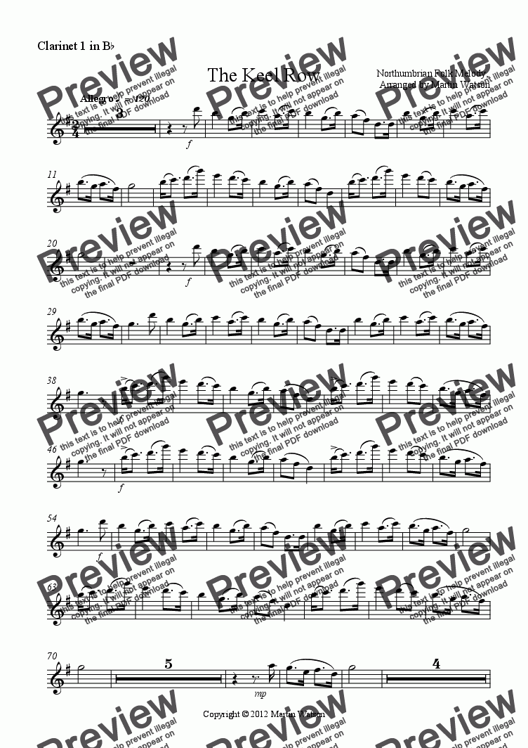 page one of the Clarinet 1 in B^b part from The Keel Row for Clarinet Quartet
