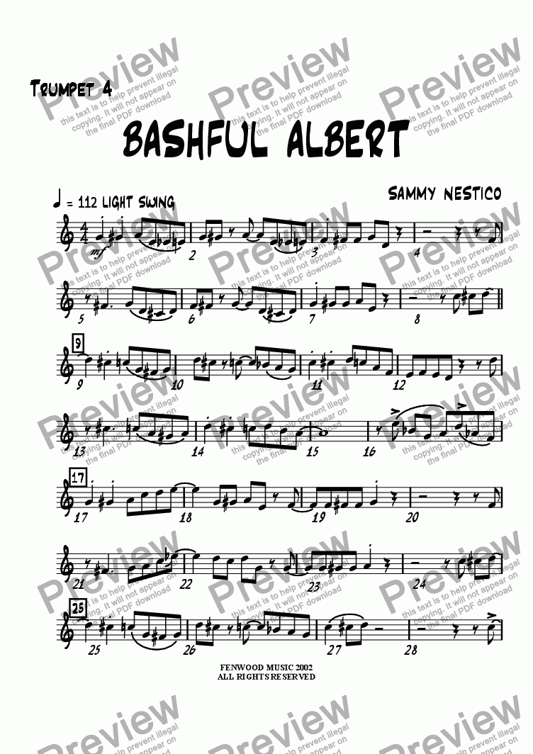 page one of the Trumpet 4 part from Bashful Albert