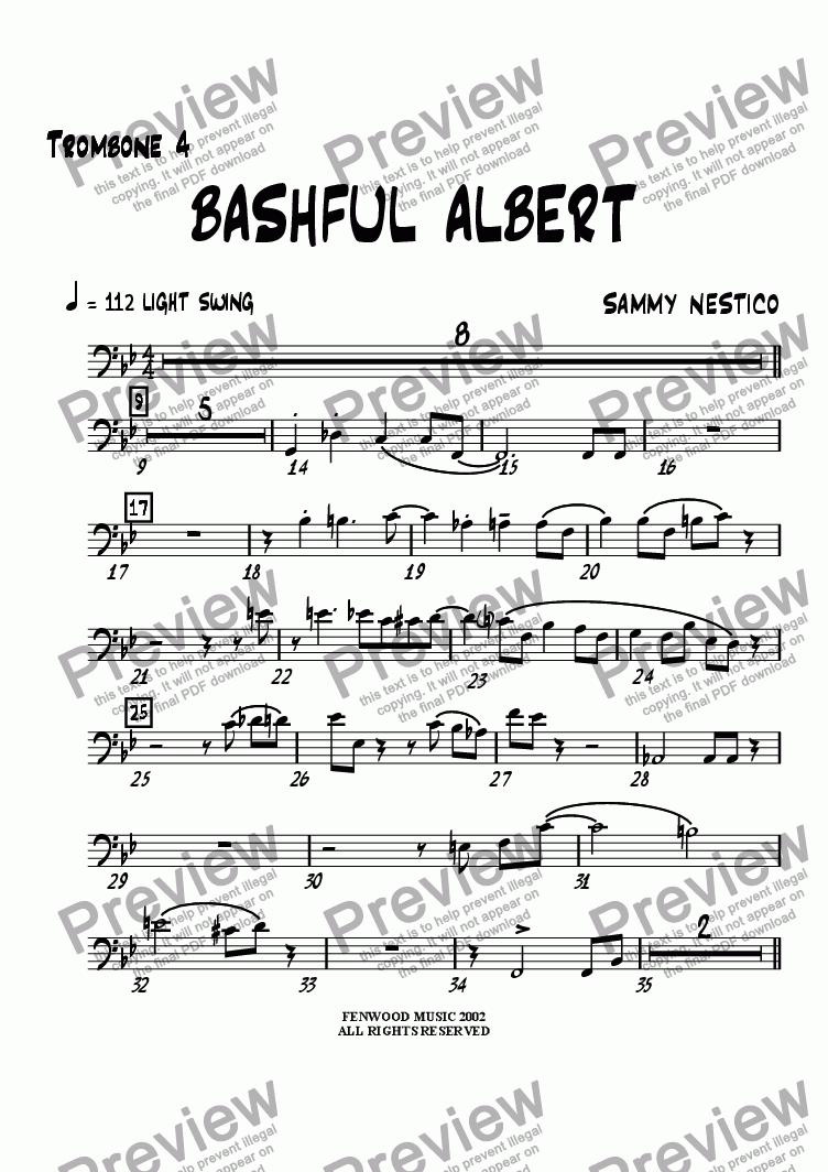 page one of the Trombone 4 part from Bashful Albert