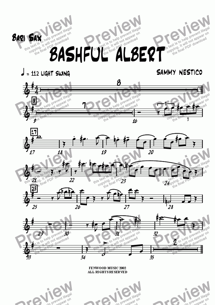 page one of the Baritone part from Bashful Albert