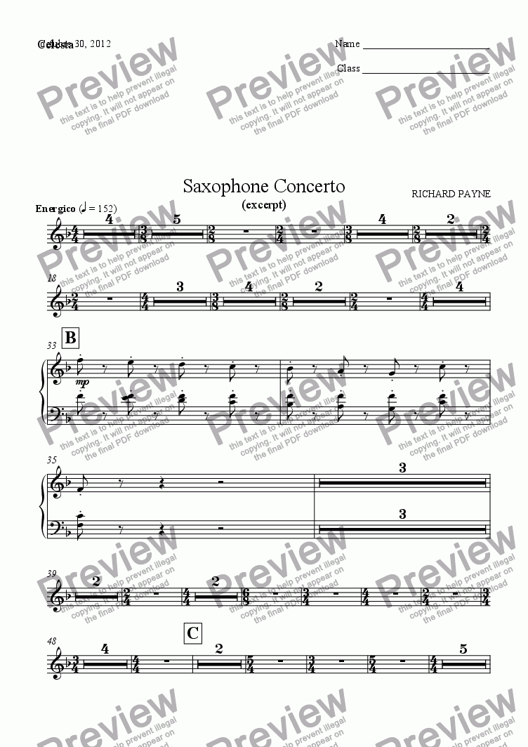 page one of the Celesta part from Saxophone Concerto
