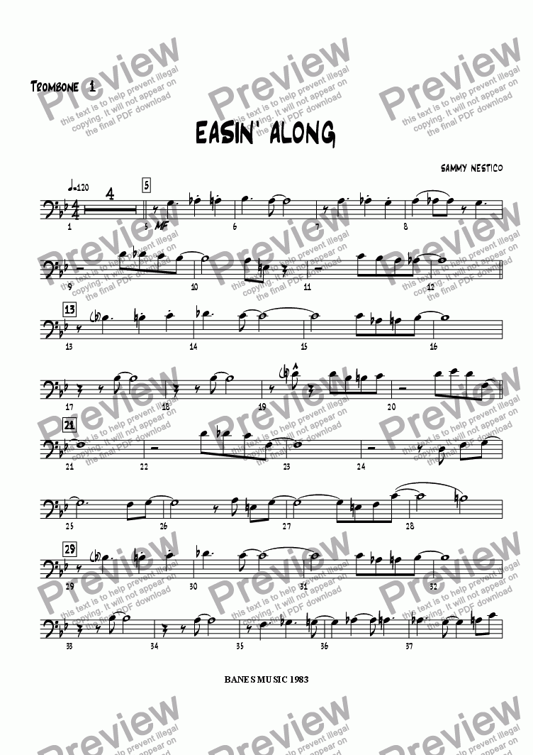 page one of the Trombone 1 part from Easin' Along