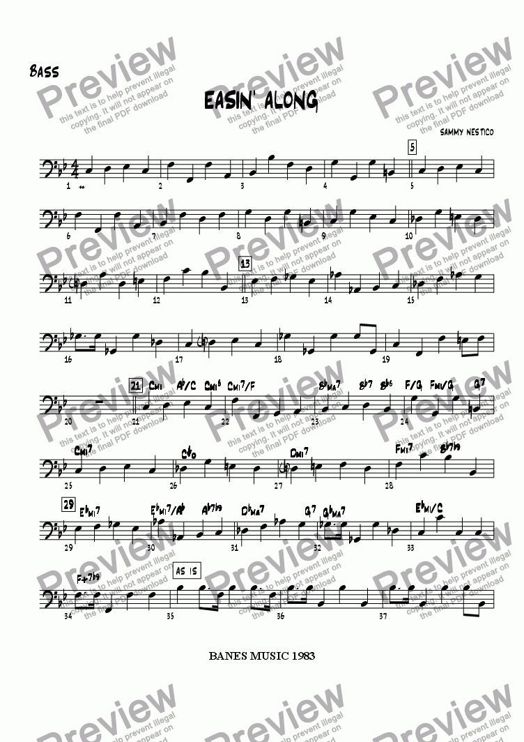 page one of the Bass part from Easin' Along