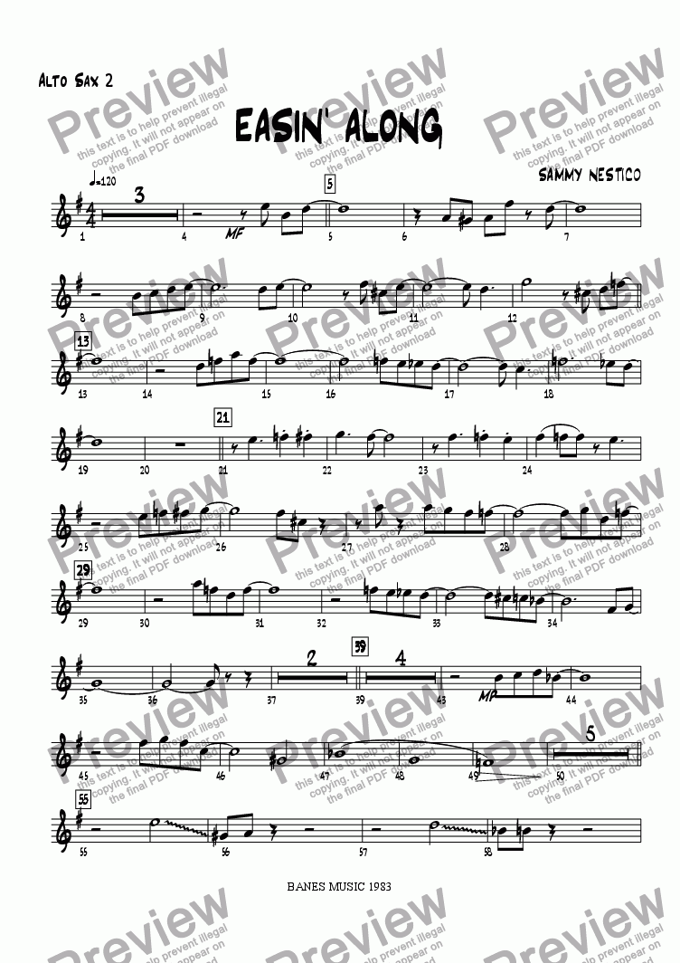 page one of the Alto Sax 2 part from Easin' Along