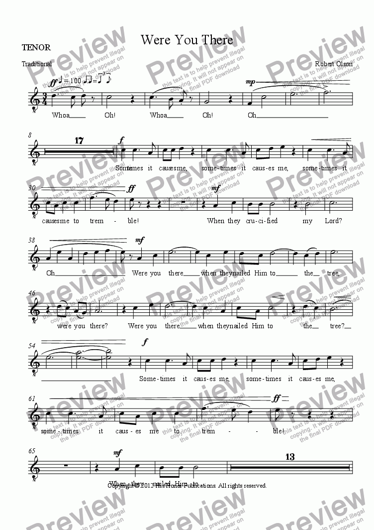 page one of the TENOR part from Were You There (SATB)