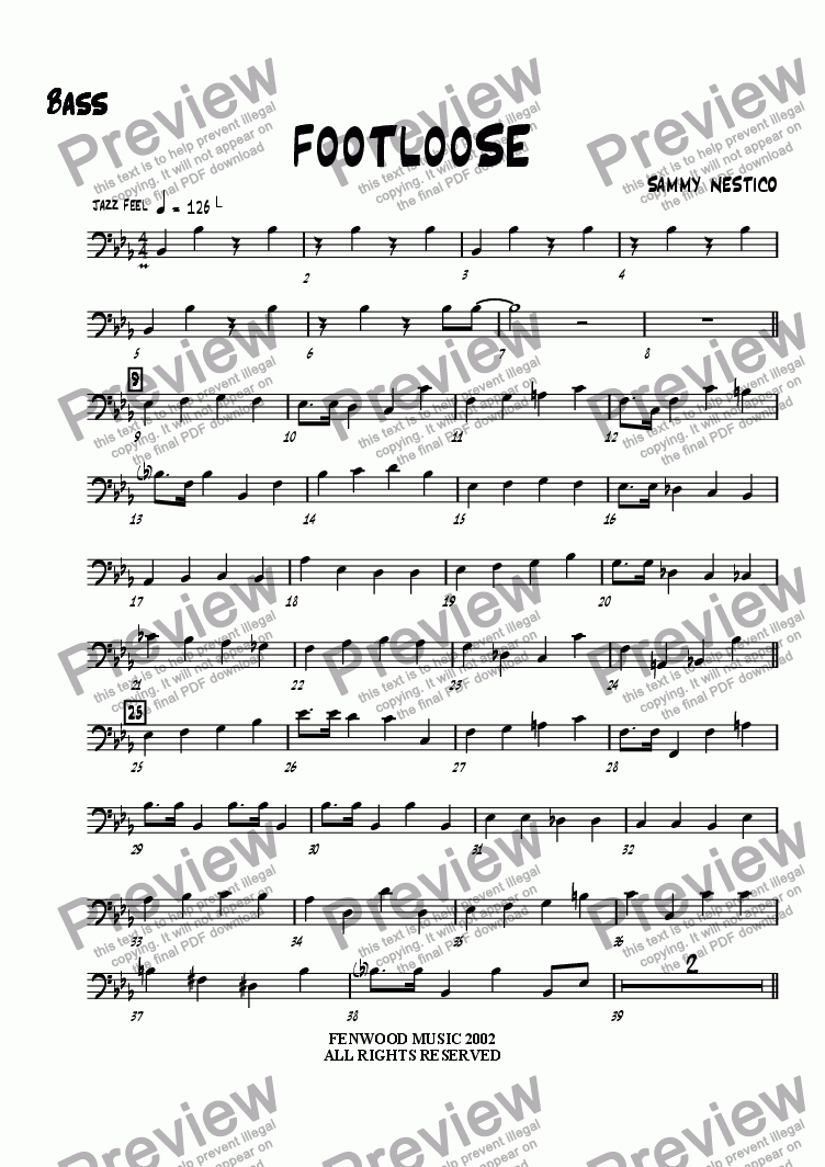 page one of the Bass part from Footloose