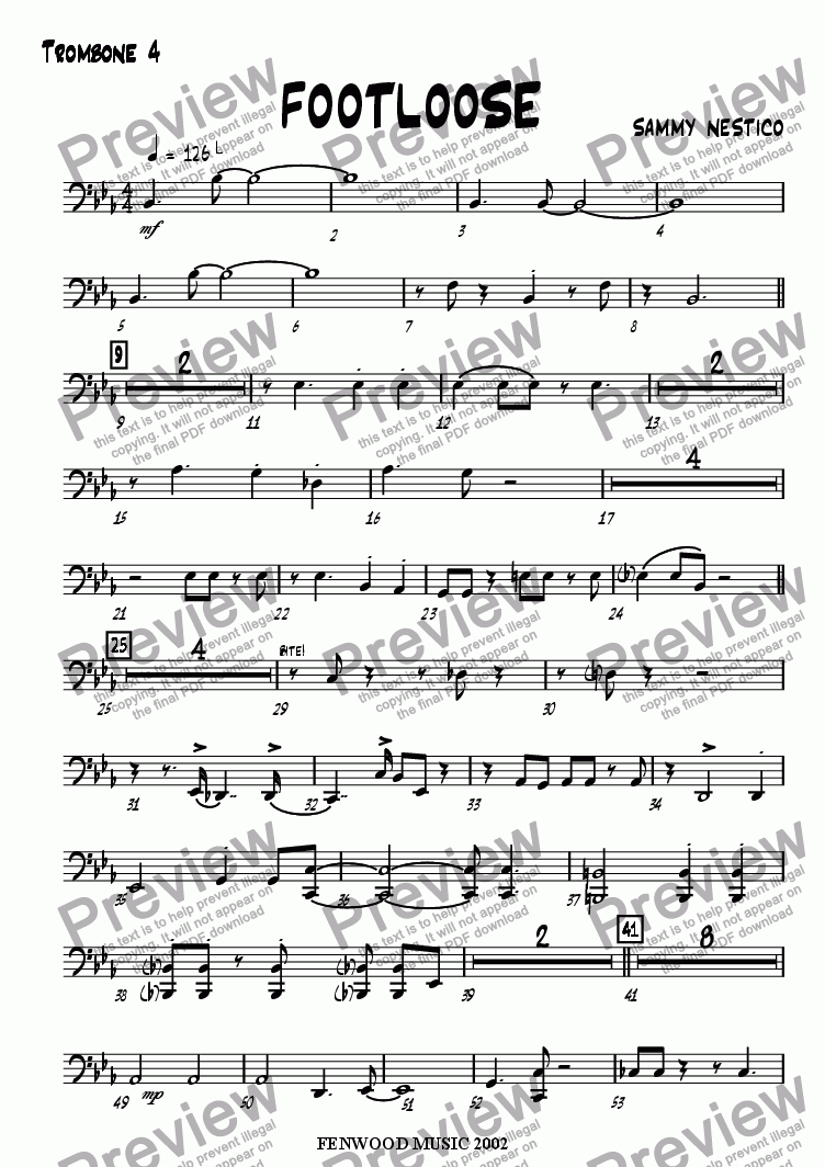 page one of the Trombone 4 part from Footloose
