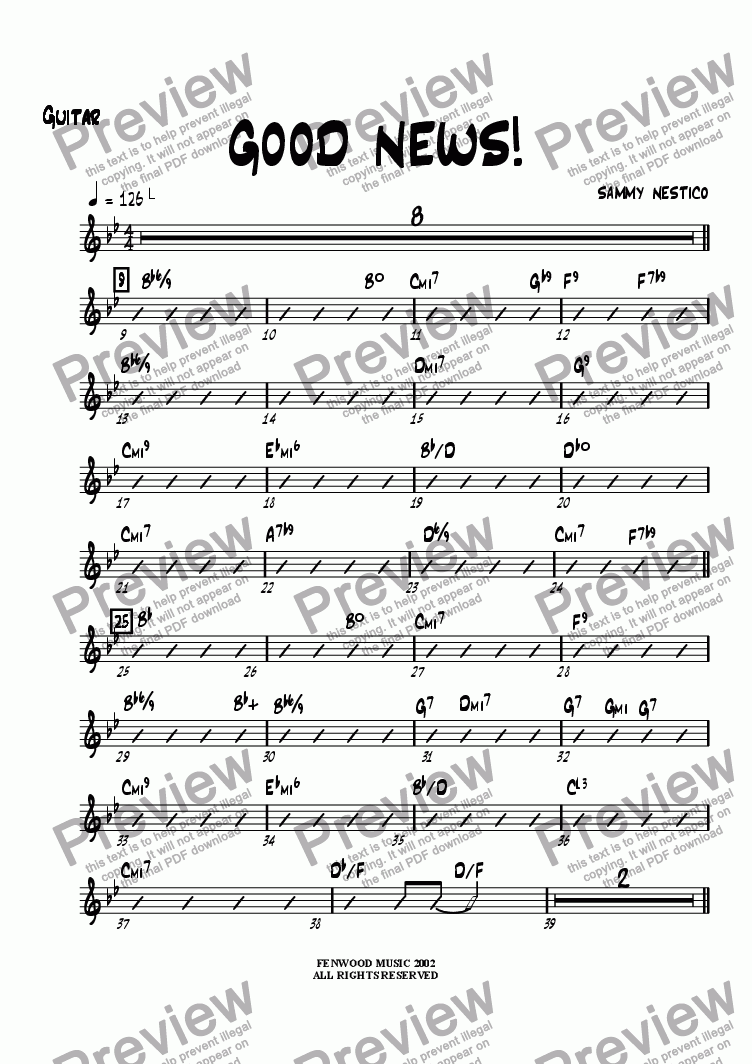 page one of the Guitar part from Good News