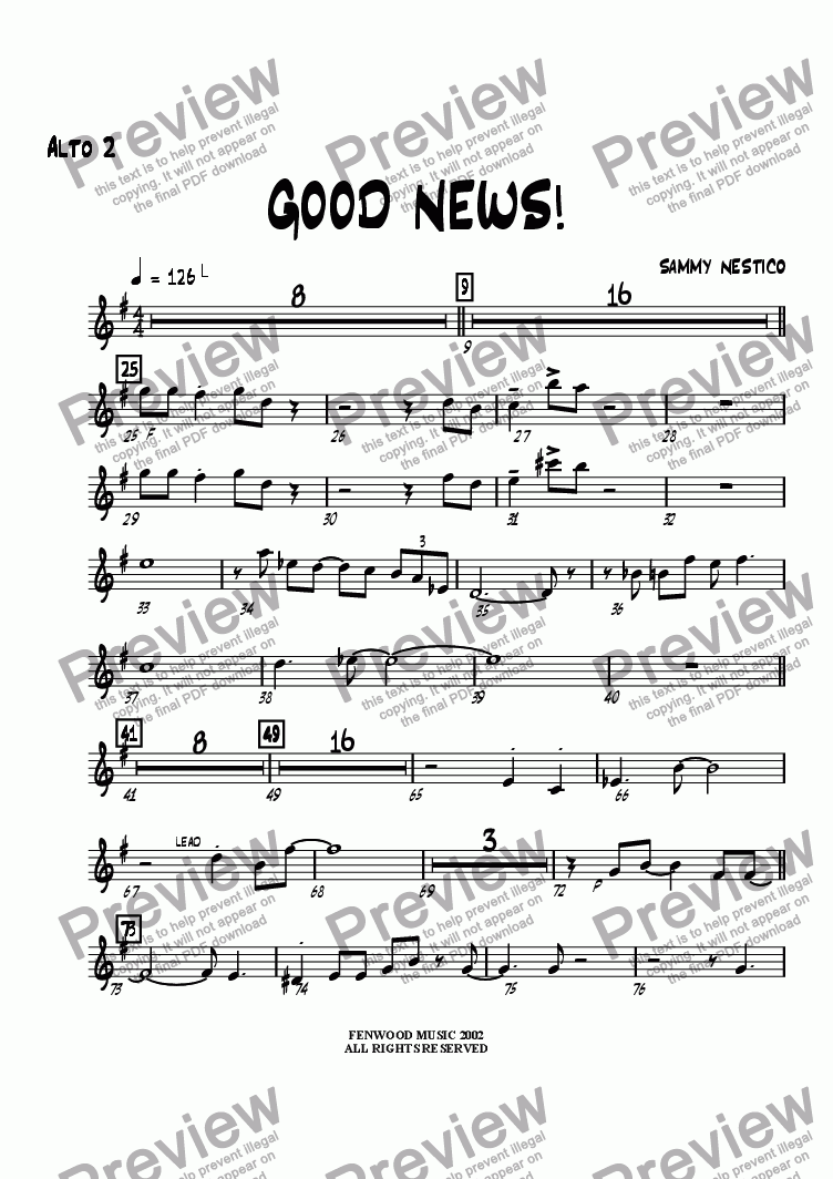 page one of the Alto Sax 2 part from Good News