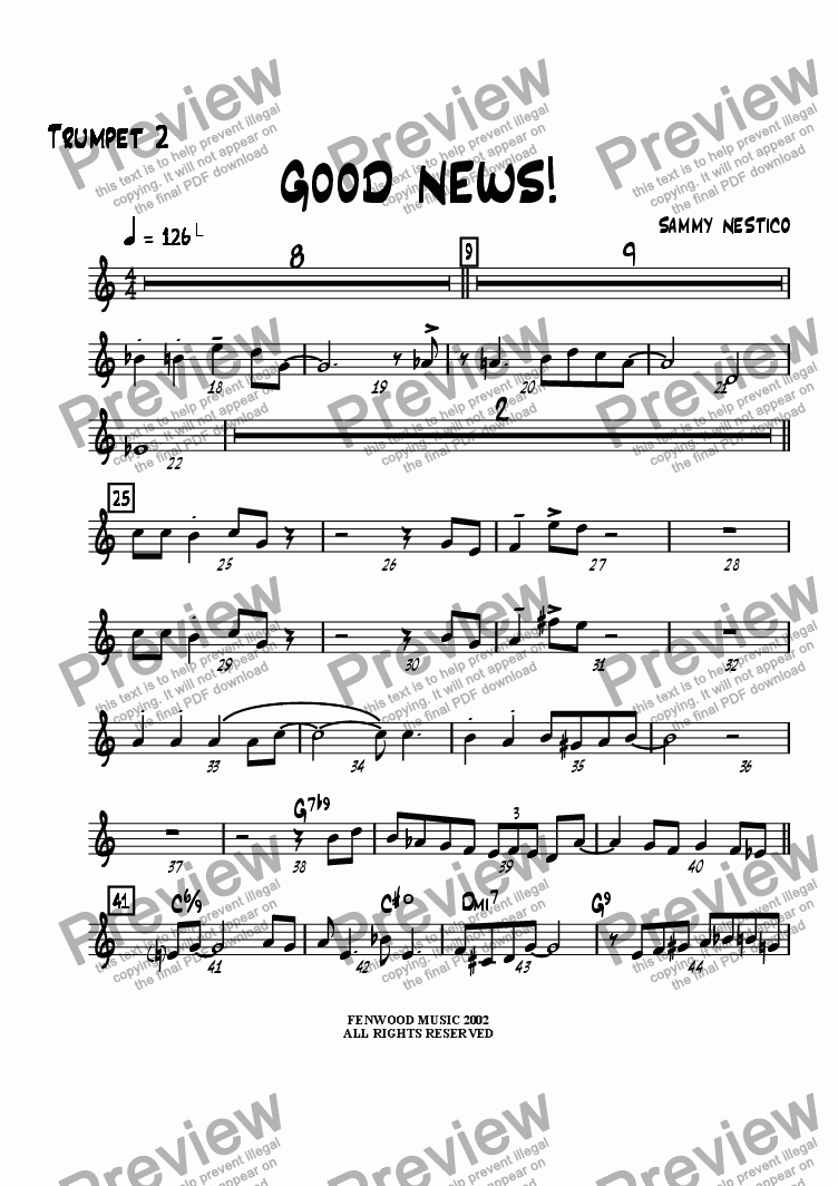 page one of the Trumpet 2 part from Good News
