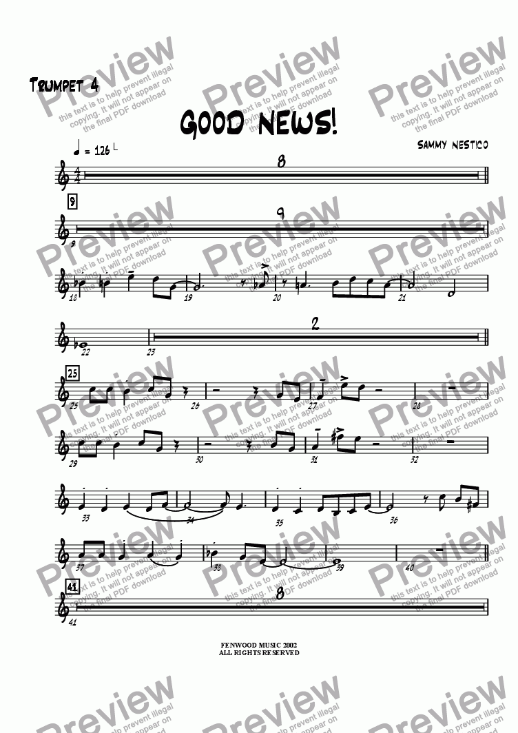 page one of the Trumpet 4 part from Good News