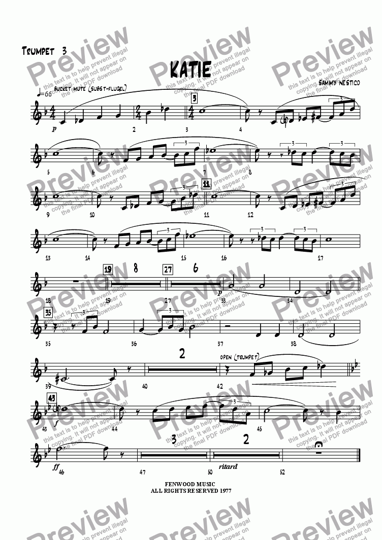 page one of the Trumpet 3 part from Katie