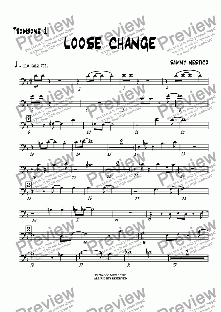 page one of the Trombone 1 part from Loose Change