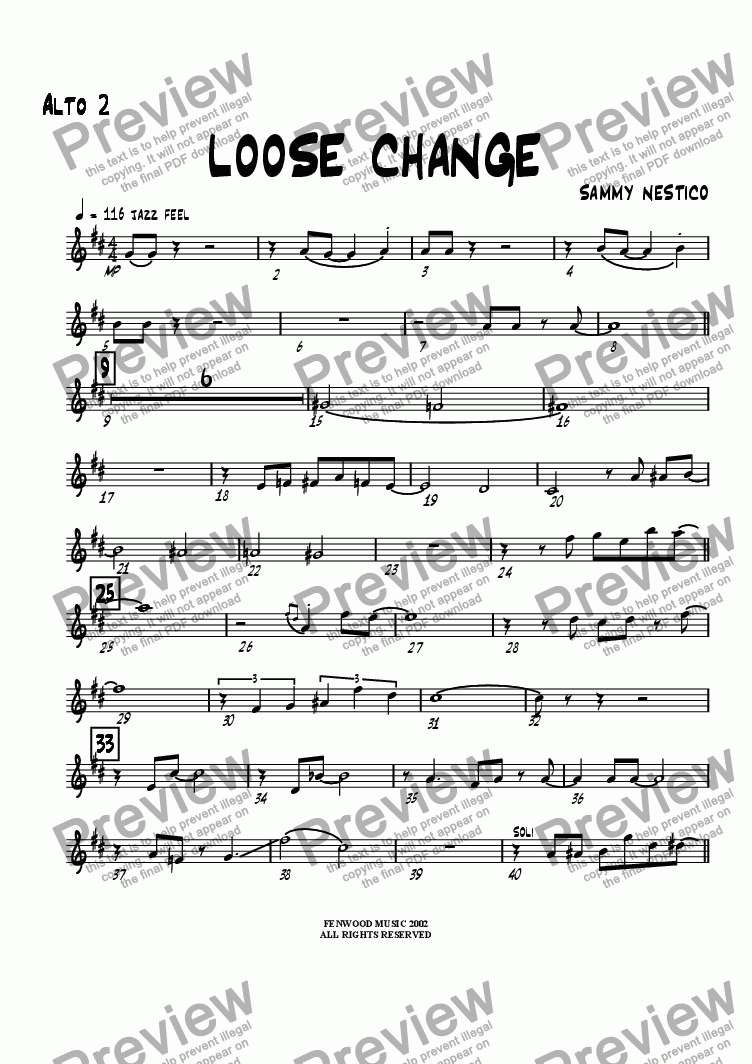 page one of the Alto Sax 2 part from Loose Change