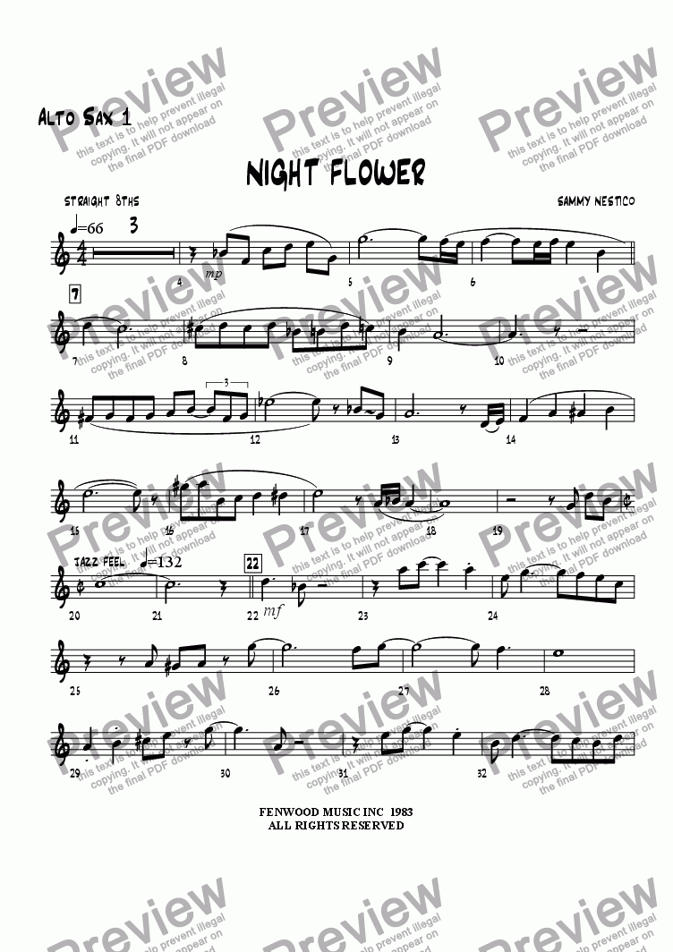 page one of the Alto Sax 1 part from Night Flower