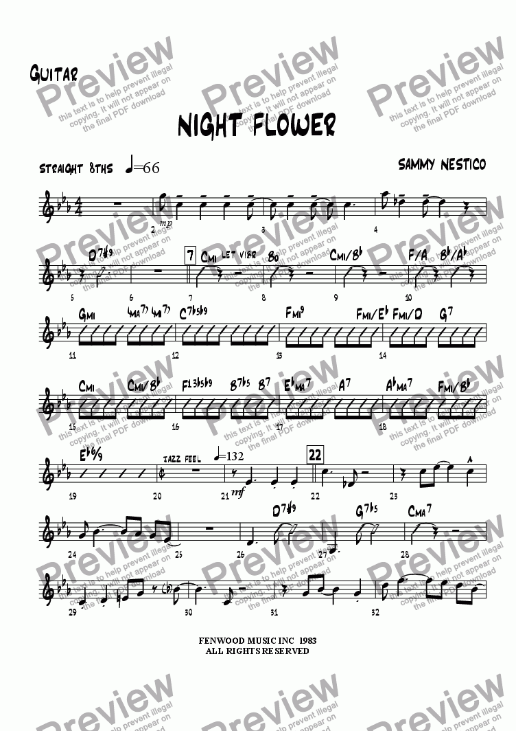 page one of the Guitar part from Night Flower