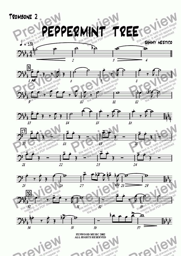 page one of the Trombone 2 part from Peppermint Tree